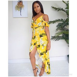 Dresses   Skirts - Floral yellow wrap maxi high low summer dress e08d9c0e9